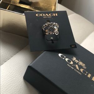 New! Coach Silver & Crystal Triple Stack Ring Set